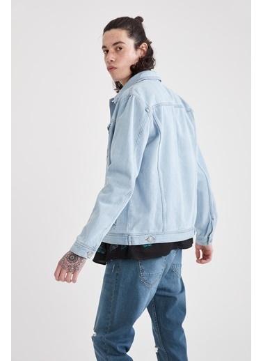 DeFacto Slim Fit Yırtık Detaylı Jean Ceket Mavi